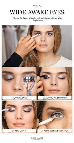To fake a wide-awake appearance, simply start by curling your lashes, then adding a light, shimmery eye shadow to the corners of your eyes and the entire lid and finish off by applying black liquid eyeliner along your upper lash line and a white eye pencil to the lower.