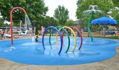 """It would be fun to have splash pad on the property somewhere as well. Maybe a with a bit more """"natural"""" looking items so that it's pretty too look at and fun for all ages. Outdoor Play, Outdoor Decor, Outdoor Rooms, Spray Park, Wind Chimes Craft, Kindergarten Design, Pet Resort, Baby Pool, Splash Pad"""