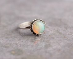 Ethiopian opal ring - Natural Opal Ring - Gemstone ring - Artisan ring - October birthstone - Bezel ring - Christmas gift idea on Etsy, $94.00