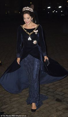 Princess Mary has stepped out in style for the third royal event of the new year. The Danish royal stepped out in an elegant navy satin gown and sparkling purple beaded jewellery. Princesa Mary, Princesa Real, Crown Princess Mary, Prince And Princess, Mary Donaldson, Style Royal, Princess Marie Of Denmark, Danish Royalty, Estilo Real