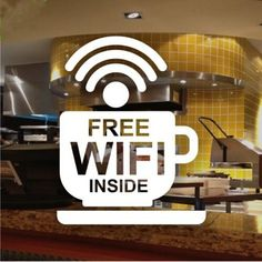 Cafe Bar Wireless Free WIFI Sign Sticker Window Decal