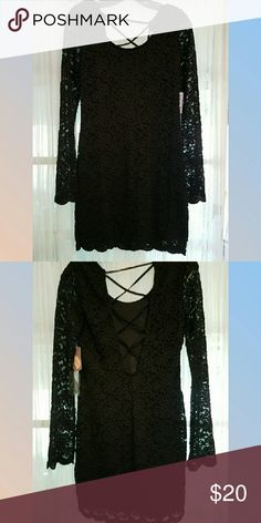Black lace dress Not see through except the sleeves. New with tags 💛💛💛FINAL PRICE DROP💛💛💛 Forever 21 Dresses