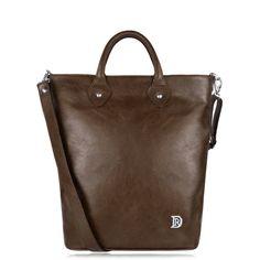 Indi Dark Brown - tall vertical brown leather handbag, elegant unisex coffee chocolate crossbody purse, spacious everyday casual bag