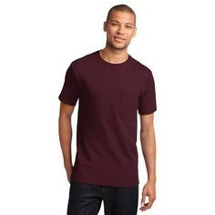 Port & Company (R) Essential T-Shirt with Pocket...Blank. Nothing beats this traditional t-shirt in comfort, versatility and casual style. Heavyweight 6.1-ounce, 100% soft-spun cotton. Coverseamed neck. Shoulder-to-shoulder taping. Double-needle sleeves and hem. Ash is 99/1 cotton/poly. Athletic Heather is 90/10 cotton/poly.
