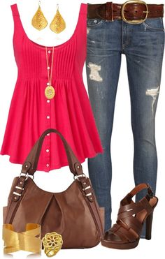 Pink blouse, jeans, brown belt, golden ear rings, high heels and bracelet for ladies.. Click on the pic for more #outfits