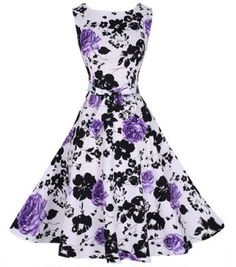 Purple Flowers Draped Belt Sleeveless Vintage Cotton Midi Dress - Midi Dresses - Dresses