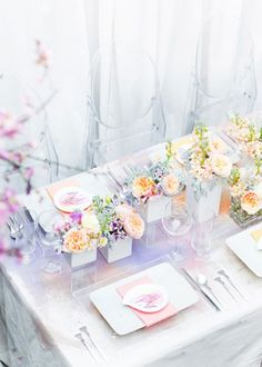 Watercolor Tablescape.  Lilac and gold seem to be the main colors.  I love the green and blue in small doses added into the flowers.