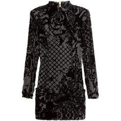 Pre-owned Balmain X H&m Patterned Black Velvet Georgette H & M... ($278) ❤ liked on Polyvore featuring dresses, black zipper dress, long sleeve black dress, velvet dress, print dress and black day dress