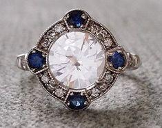 "Estate Halo White Sapphire Diamond Antique Engagement Ring Victorian Art Deco Edwardian 14K White Gold ""The Charlotte"""