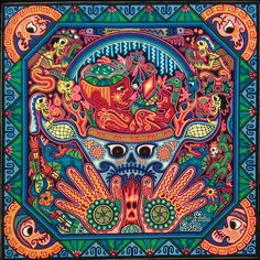 "Luis Castro: Premier Huichol Yarn Painting 24"" x 24"""