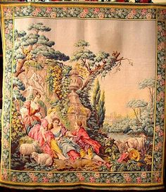 Exquisite Belgium Wall Size Tapestry Depicting a Victorian Scene ~ from timberhillsantiques on Ruby Lane