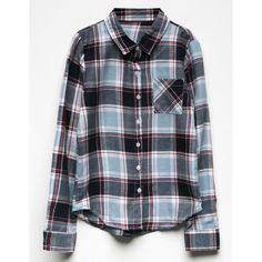Full Tilt Plaid Girls Flannel Shirt ($16) ❤ liked on Polyvore featuring tops, lightweight shirts, plaid flannel shirt, tartan shirt, shirt top and plaid shirts