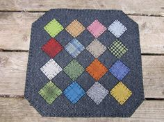 Patchwork wool penny rug by granniesraggedybags on Etsy