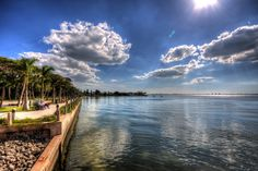 Water view of Sarasota Bay from the back of Ca' d'Zan, the John Ringling Mansion