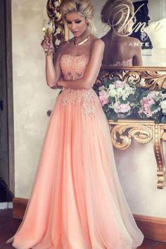Buy A-Line Strapless Lace Appliqued Floor-length Blush Pink Beaded Tulle Prom Dresses uk on https://www.promdress.me.uk/