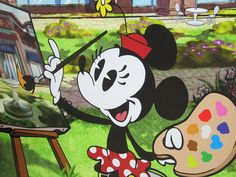 Minnie's Wall Painting Decorates World of Disney's Construction Site Mickey Mouse Shorts, New Mickey Mouse, Minnie Mouse Pictures, Walt Disney Pictures, Coral Drawing, Disney Movie Rewards, Mickey Love, Mickey Mouse Wallpaper, Disney Traditions