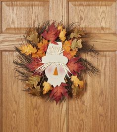 Fall Wreath | Home Decor for Autumn | Fall For All Scarecrow Grapevine & Leaves Wreath Multi