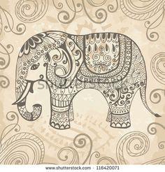 """""""Elefante de fantasía estilizado, adornado con dibujos. Ilustración vectorial dibujada a mano. Se puede utilizar separada del fondo"""""""