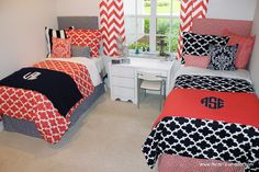 Coral and Navy Custom Fynn Quatrefoil Duvet and Sham Sets Coordinating Room. Coral and navy designer bedding set. Available in all bed sizes: twin, full/queen, and king. Custom pillows, exclusive bed scarf, window panels, wall art, bed skirts, and custom monogramming! Custom made designer bedding and accessories.