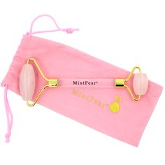 MintPear's Rose Quartz Roller is used to support blood circulation, gives skin a more elastic feel, a more toned look, and the appearance of reduced pores. This roller has a large and small stone for easy, effortless movements all over the face. It also comes with a duster bag for storage and travel. Collagen Serum, Face Roller, Under Eye Bags, Facial Muscles, Tension Headache, Skin Elasticity, Skin Brightening, Dark Circles, Clear Acrylic