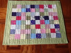 Classic Patchwork Table Topper  Pink Green and by Clothstitched