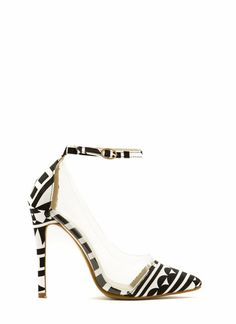 Clearly Abstract Geo Ankle Strap Heels