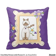 Cute Kitty Picture with Flowers Pillow