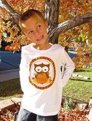 Thanksgiving Personalized Owl Kids Thankful Shirt Boys Girls Babies | FUNKY MONKEY THREADS, #FMT, #funkymonkeythreads, #thankful
