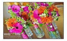 pink and orange wedding flowers. Wedding bouquets put in vases and used as center pieces for reception! Wedding Reception Flowers, Purple Wedding Flowers, Summer Wedding Colors, Wedding Table, Diy Wedding, Wedding Bouquets, Trendy Wedding, Wedding Ideas, Bridesmaid Bouquets