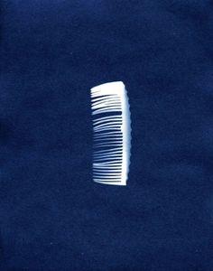 Elin o'Hara slavic - Cyanotype of hair comb - An A-bombed artifact in Hiroshima Sun Prints, Cyanotype, Hiroshima, Sculptures, Hair Comb, Gallery, Indigo, Blues, Photography