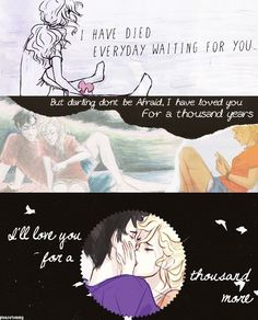 Percabeth- Thousand Years(Christina Perri) My absolute FAVORITE song combined with my absolute FAVORITE book series! Solangelo, Percabeth, Saga, Wise Girl, Percy And Annabeth, Harry Potter, Christina Perri, Rick Riordan Books, Percy Jackson Fandom
