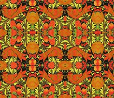 khokhloma custom fabric by capture_dc_hic for sale on Spoonflower Spoonflower Fabric, Custom Fabric, Craft Projects, Custom Design, Kids Rugs, Quilts, Sewing, Wallpaper, Retro Illustrations
