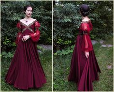 "missximpossible: "" thecarvingwitch: "" crafts-chicks-and-cats: "" Making the burgundy dress. Design, patterns and sewing made by me. The dress is renaissance inspired, with some personal modifications. Renaissance Mode, Renaissance Costume, Renaissance Dresses, Medieval Costume, Renaissance Fashion, Medieval Dress, Italian Renaissance Dress, Historical Costume, Historical Clothing"