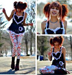 Black Milk Clothing Blood Splattered Leggings, Ebay Creepers, Thrifted Dress, Tootsie Pops ;D Lollypop