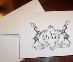 Personalized Monogrammed Stag, Elk Deer Heraldic Crest Note Cards Vintage Inspired Stationery Stationary Set Black Ivory Set of 10 Doodle, Writing Pens, Typography Inspiration, Tattoo Blog, Letterpress, Note Cards, Personalized Stationary, Stationary Set, Personalised Gifts