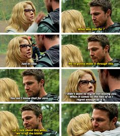 """""""Just in case"""" - Felicity and Oliver #Arrow ((YESSSS!!! WHOO-HOO!!))"""