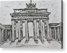 "Brandenburg Gate, Berlin (Germany): An ink sketch of the Brandenburg Gate printed on to the back of a 1/4"" thick acrylic sheet to produce a high gloss effect by Kelly Goss Art. Delivered ""ready to hang"" with two mounting options. Perfect to brighten up and decorate your home. Fit for any wall in any room. The special gift to spice up a friend's home decor. For a lover of famous landmarks and Berlin."