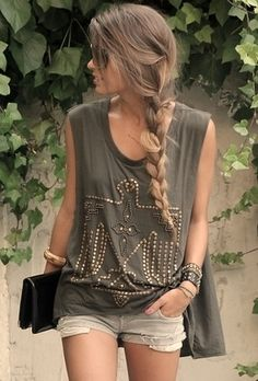 Audrina Patridge.. oversized Tank, short shorts, and braid