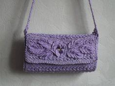 Lavender Crochet Tote Purse Woven Handbag Women Lady by Gaitaly2