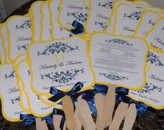 Wedding Fan, Make them either yellow, navy blue or deep purple- or a combo if you like? These would be the programs