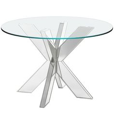 A small table base with a big personality. This solid hardwood base is compact, yet capable of accommodating glass tops to in diameter (sold separately). Its unique design is bold, sophisticated and versatile—combine two to perfectly support a tabletop.