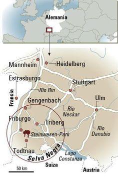 Mapa de la Selva Negra, en Alemania.