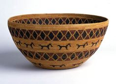 Yokut Coiled Bowl with rattlesnakes and dogs | ca. 1900