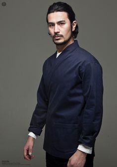花笙记中国风 改良汉服男士斜襟修身长袖中式外套V领纯棉