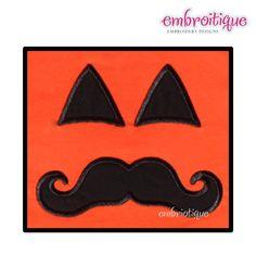 Mister Mustache Pumpkin Face Halloween on sale now at Embroitique.com!