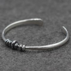 Sterling Silver Beads Cuff Bracelet