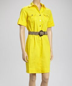 Yellow Belted Shirt Dress by Sharagano #zulily #zulilyfinds