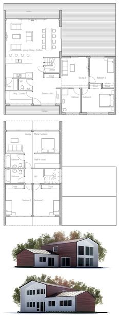 House plan with five bedrooms