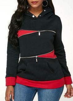 d0ca9196 Zipper Embellished Long Sleeve Black Hoodie | modlily.com - USD $38.07 Pullover  Hoodie,