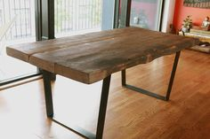 Reclaimed, old growth, yellow pine dining room... | Left to Right
